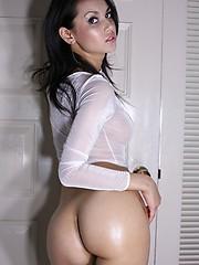 Maria Ozawa in transparent shirt strips nude