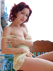 Night A's pink, shaven pussy and svelte legs claim the highlight in this morning shoot by the veranda with Rylsky.